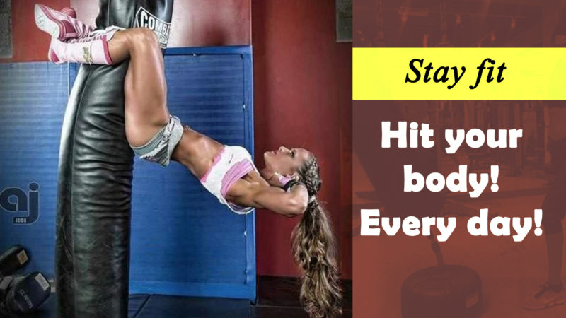 Best standing gym bags to buy online for women and girls - girl exercising on gym bag punching and hitting