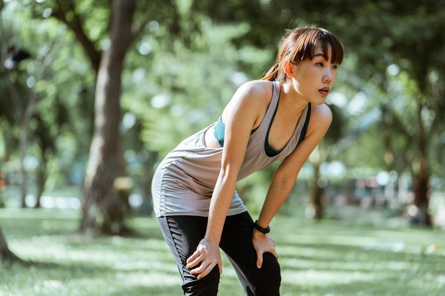 Girl tired after workout exercise running